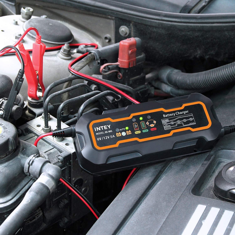 6//12 V 5A Mainteneur De Batterie INTEY Chargeur de Batterie Chargeur de Batterie pour Motos et Voiture