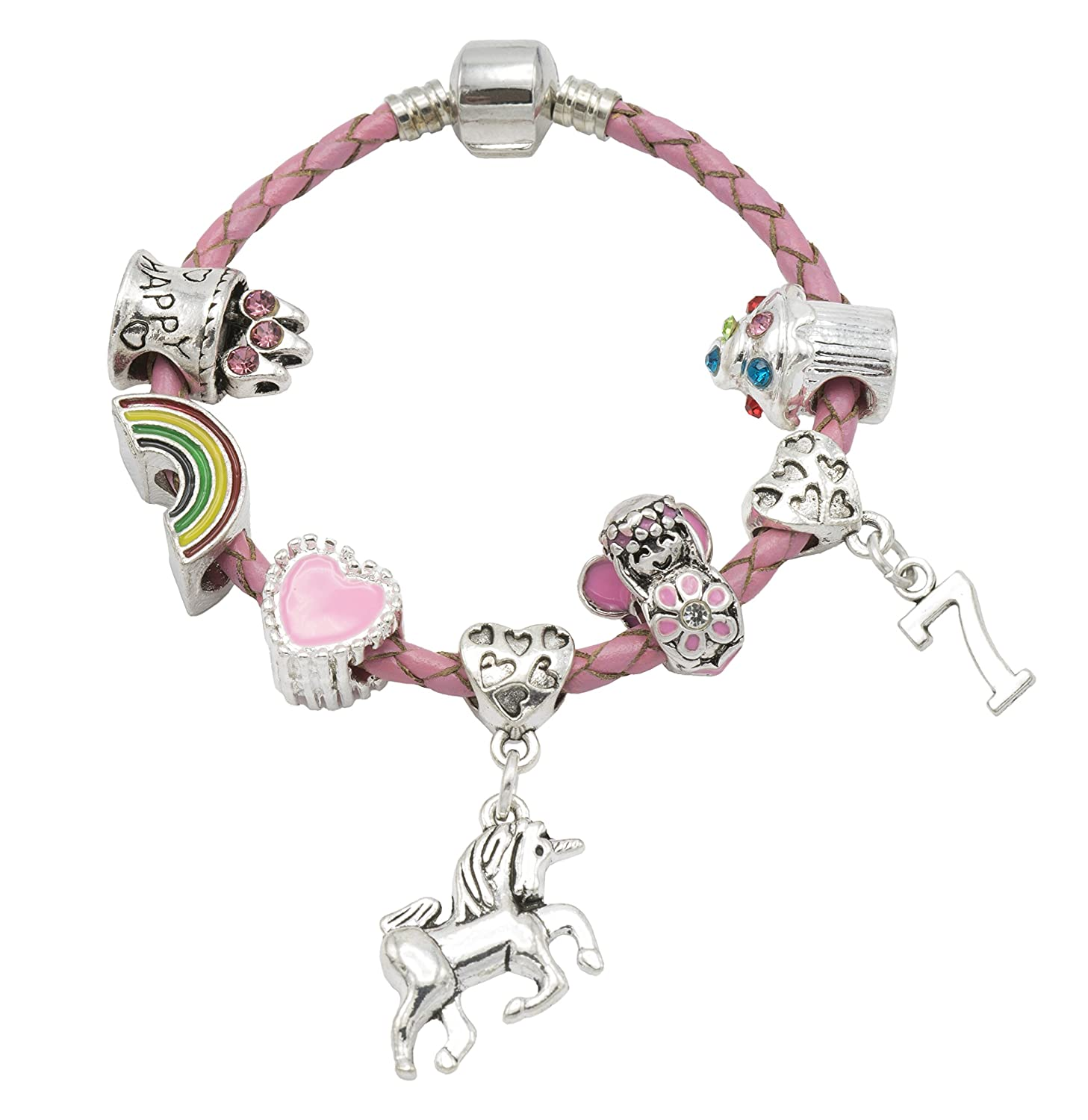 \'May Your Day Be As Magical As A Unicorn\' - Children\'s 7th Birthday Unicorn Bracelet for Girls with Gift Box - Girls Unicorn Jewellery