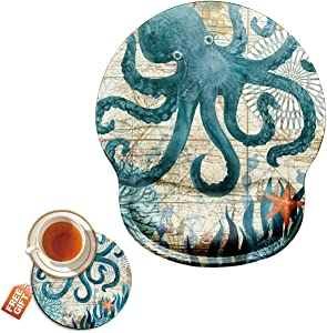 Mouse Pad with Wrist Support Gel Ergonomic Gaming Mousepad with Wrist Rest for Laptop Cute Octopus Computer Home Office Working Mouse Mat + A Cute Coffee Pad
