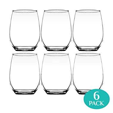 Element Drinkware Stemless Wine Glass 20oz Great For White Or Red Wine - Large Size Durable Chip Resistant Rim Wine Tumbler Premium Drinking Cups Great Gift for Wine Lovers or Crafters - Bulk 6 Packs