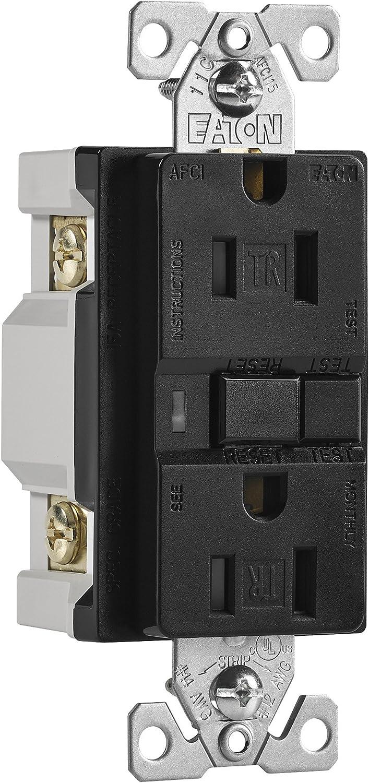 Black Finish Eaton TRAFCI15BK 15 Amp Tamper Resistant AFCI Receptacle