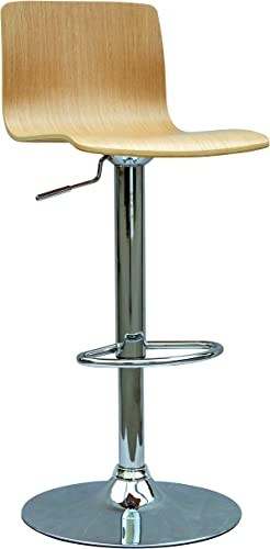 Chintaly Imports 0353 Bent Wood Pneumatic Gas Lift Adjustable Height Swivel Stool
