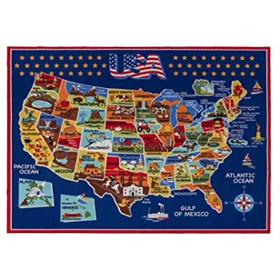 Smithsonian Rug US Map Learning Carpets Bedding Play Mat Classroom Decorations Blue Area Rugs 5x7, Navy: Toys & Games