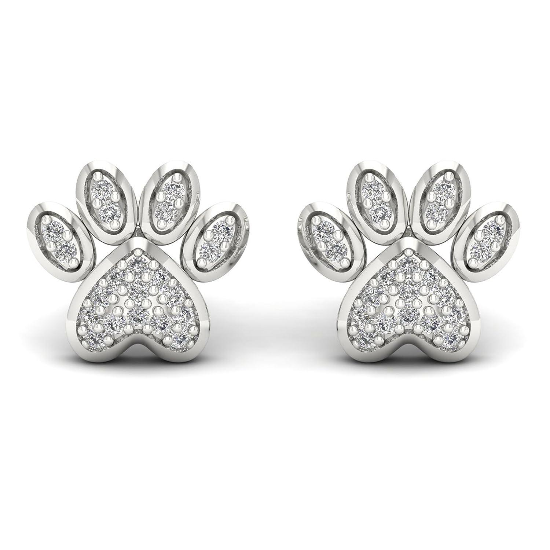 b327ca7d3 10K White Gold 1/10ct TDW Diamond Dog Paw Print Earrings De Couer EF9797  I-J, I2
