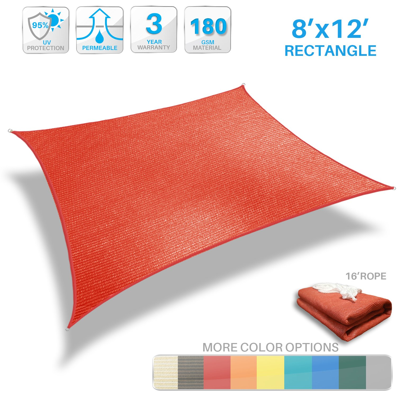 Patio Paradise 8' x 12' Red Sun Shade Sail Rectangle Canopy - Permeable UV Block Fabric Durable Patio Outdoor - Customized Available