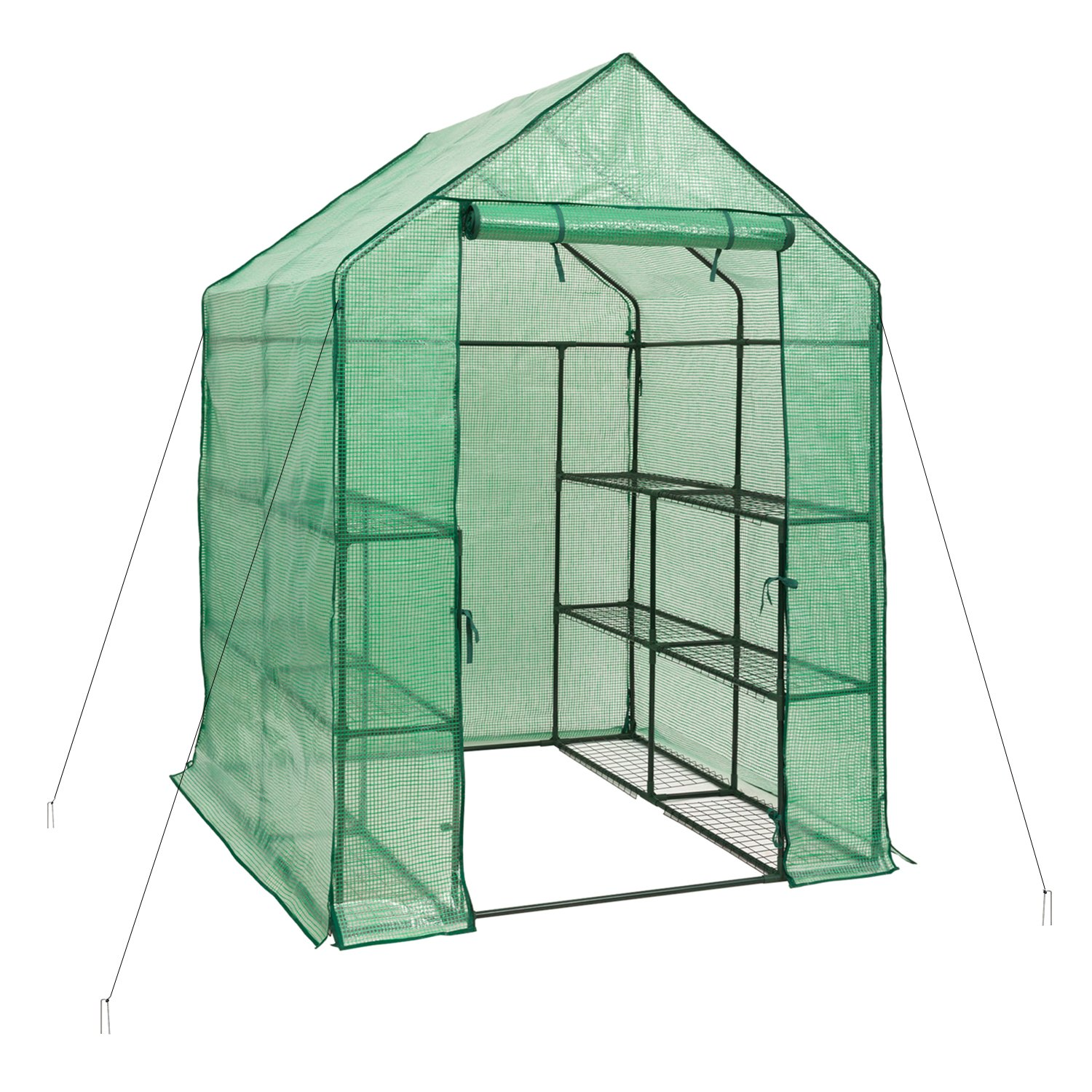 DOEWORKS Walk-in Plant Greenhouse with PE Cover, 3-Tier 12-Shelf Garden House for Outdoor, 54.7''x 55.9''x 77.1''