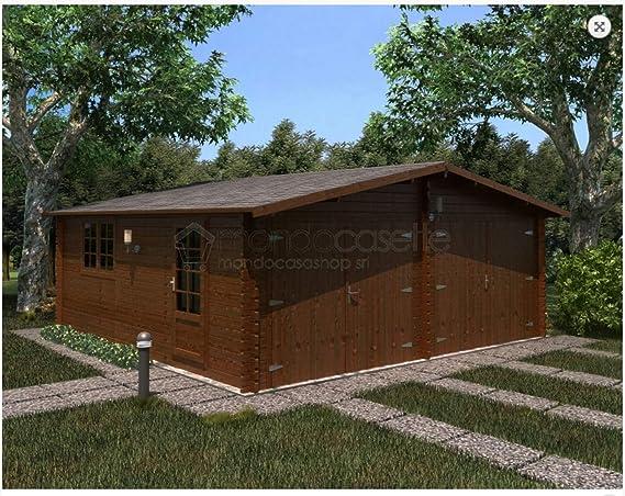 Mondocasette Casa Casa de Madera de jardín - Modelo Garaje Grosor Paredes 45 mm 600 x 600 cm, Box Coche ripostiglio: Amazon.es: Jardín