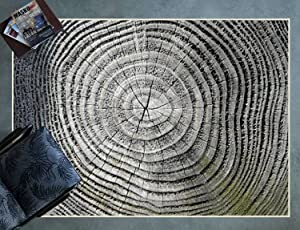 DFGXZVNOFH Area Rug, Greyscale View of Tree Rings with Green Moss Discoloration Non-Slip Floor Mat Carpet for Living Room Bedroom Playroom Sofa Kids Play Mat Nursery Rugs, 63x94 Inch