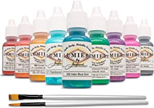 Jacquard Metallic Paint - Lumiere Exciter Pack - 9 Metallic and Pearlescent Colors - Bundled with Moshify Brush Set