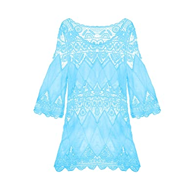 feeb14ecd85ea SUNNOW® Womens Sexy Beach Cover Up Floral Lace Crochet Hollow Out Tunic  Swimwear Dress (
