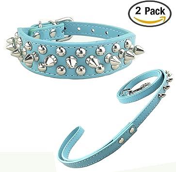 Newtensina Elegante Collar de Perro y Correa Sets Punk Collar de Perro Tachuelas Collar de Perro y Correa para Perros