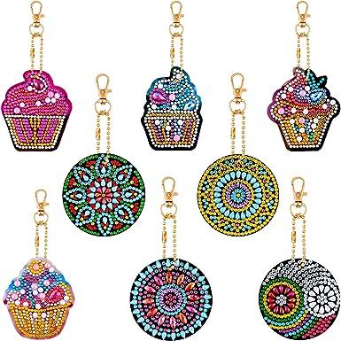 BYFRI Diamond Painting Keychains 5d Mosaic Making Full Drill Diamond Painting Pendant Ice Cream Diamond Keychains for Art Craft Keyring Phone Charm Bag Pendant Decoration 4pcs//set