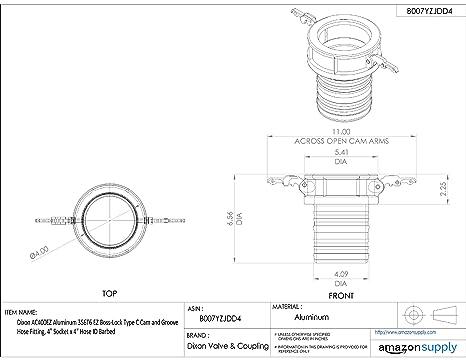 Dixon 400-C-AL Aluminum 356T6 Type C Cam and Groove Hose Fitting 4 Socket x 4 Hose ID Push-On