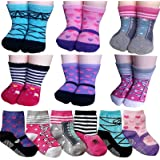 BSLINO Assorted 6 Pairs 12-24 Months Baby Girl Toddler Socks Non-Skid Anti Slip Stretch Knit Grips Cotton Shoe Socks Slippers + Thank you Card (Multicolor)