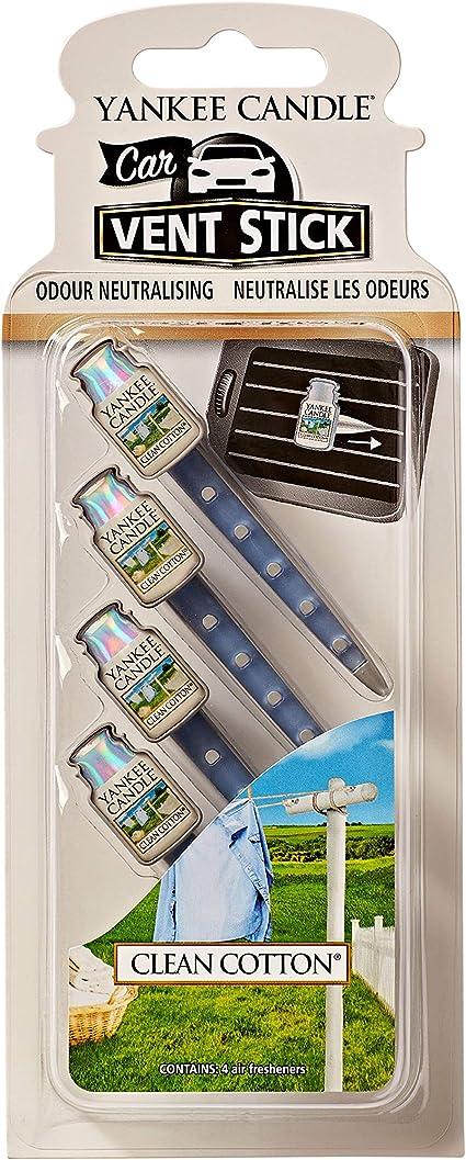 Amazon.es: Yankee Candle ambientador para coche en barra para las rejillas de ventilación, Algodón blanco, paquete de 4