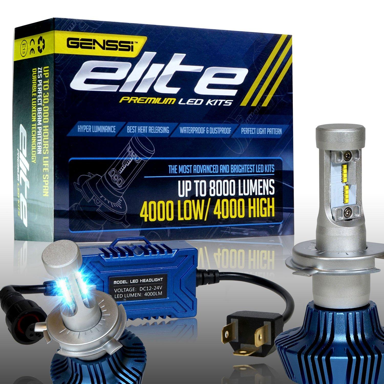 Amazon.com: GENSSI Elite LED Headlight Bulbs Kit 6000K Super White Conversion H4 Low/High: Automotive