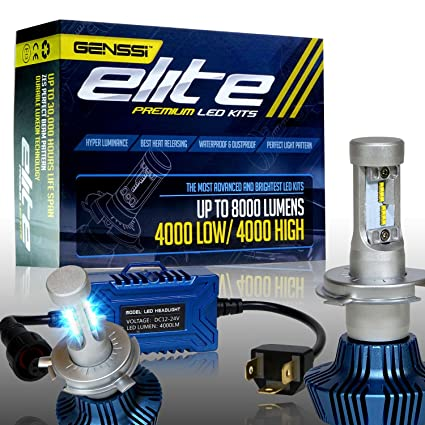 Amazon.com: GENSSI Elite LED Headlight Bulbs Kit 6000K Super White Conversion H4 Low/High: Automotive