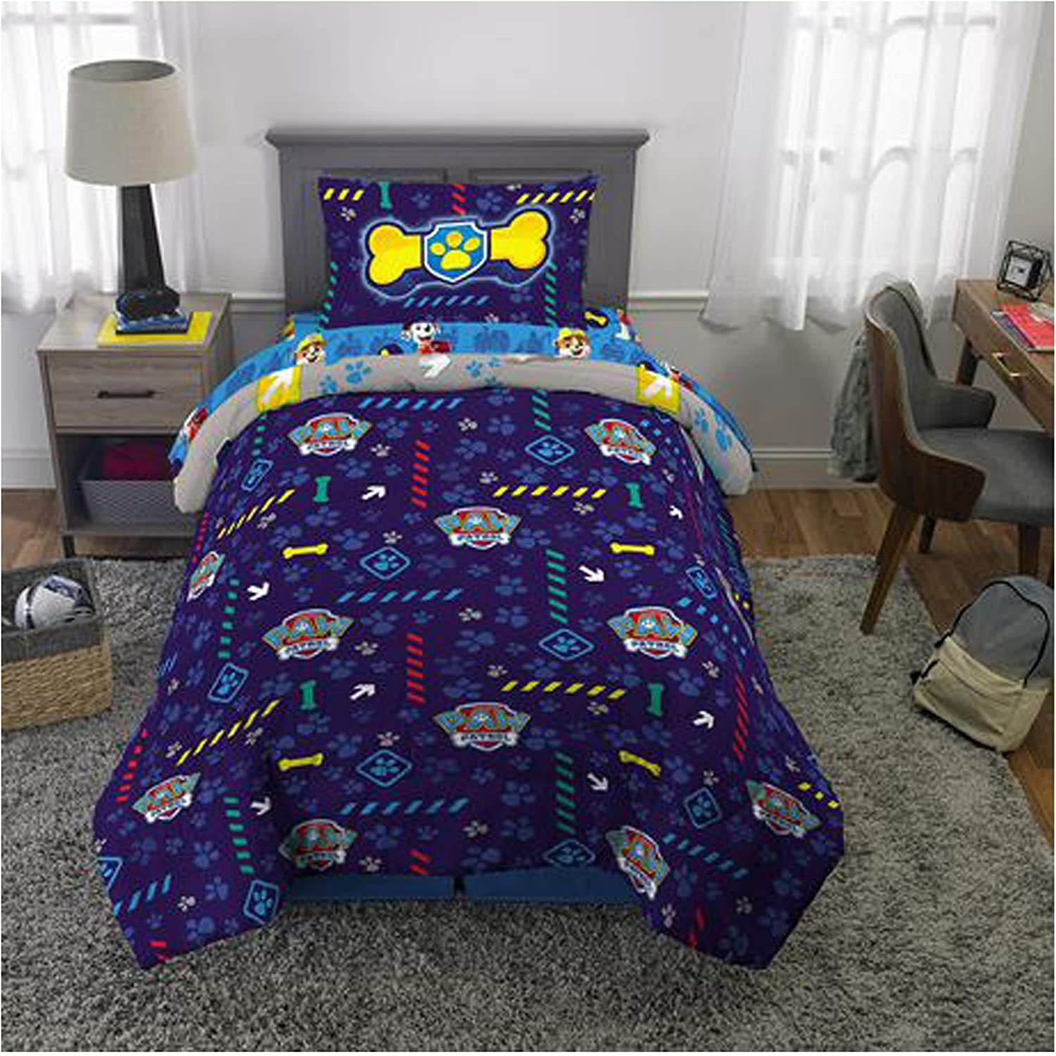 Paw Patrol Dogs on The Loose Twin 4-Piece Bed Set Plus Bonus Bag Includes Reversible Comforter Pillowcase Flat Sheet Fitted Sheet