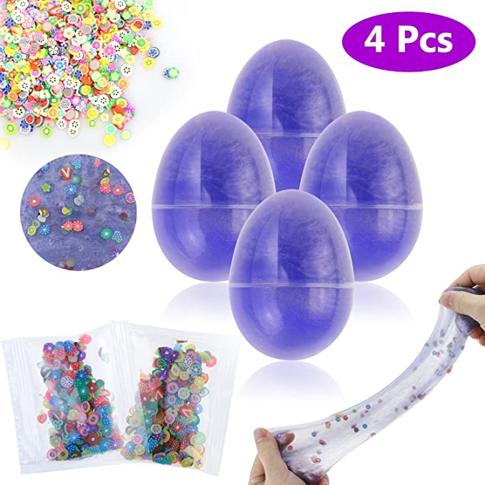 Philonext 4 Pack Soft Egg Galaxy Colorful Fluffy Slime DIY Scented Stress Relief Slime Mud Sludge Toys for Kids Adults - Cute Easter Basket Stuffer