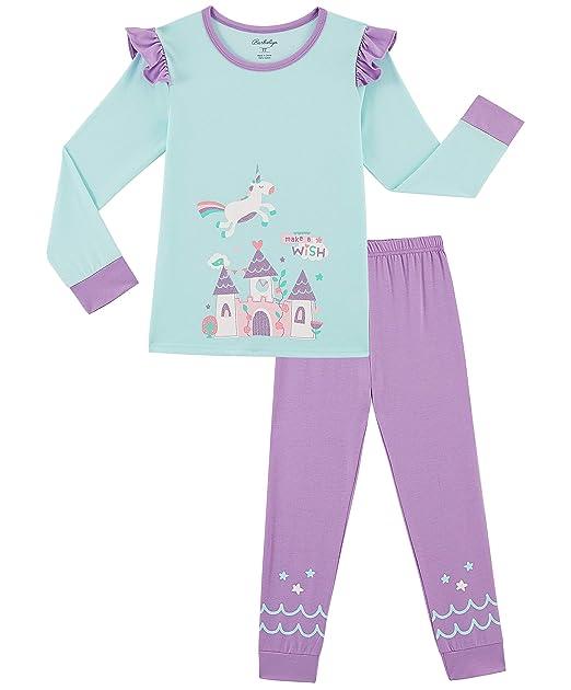 281f40e1185f Girls Pajamas Unicorn Pjs 2 Piece 100% Super Soft Cotton (Blue Purple  Unicorn,