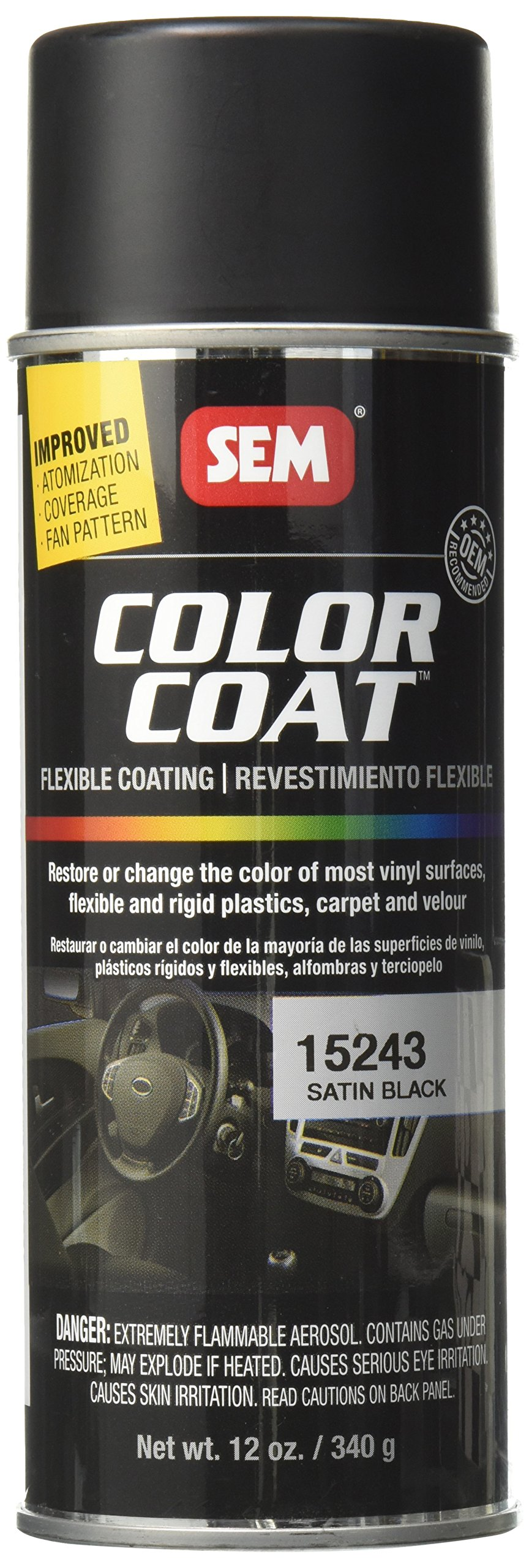 SEM Paints SEM15243 Satin Black Color Coat Aerosol