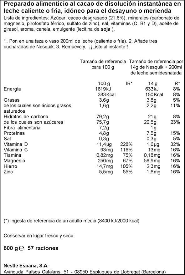 Nesquik - Cacao Soluble Instantáneo - 3 Paquetes de 800 g