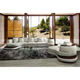 VIG Furniture Divani Casa Rodus - Rounded Corner Leather Sectional Sofa with Wood Trim