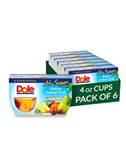 Dole Fruit Bowls, Cherry Mixed Fruit in Water, No Sugar Added, 4 Count, 4 Ounce Cups (Pack of 6) - 24 Total Cups