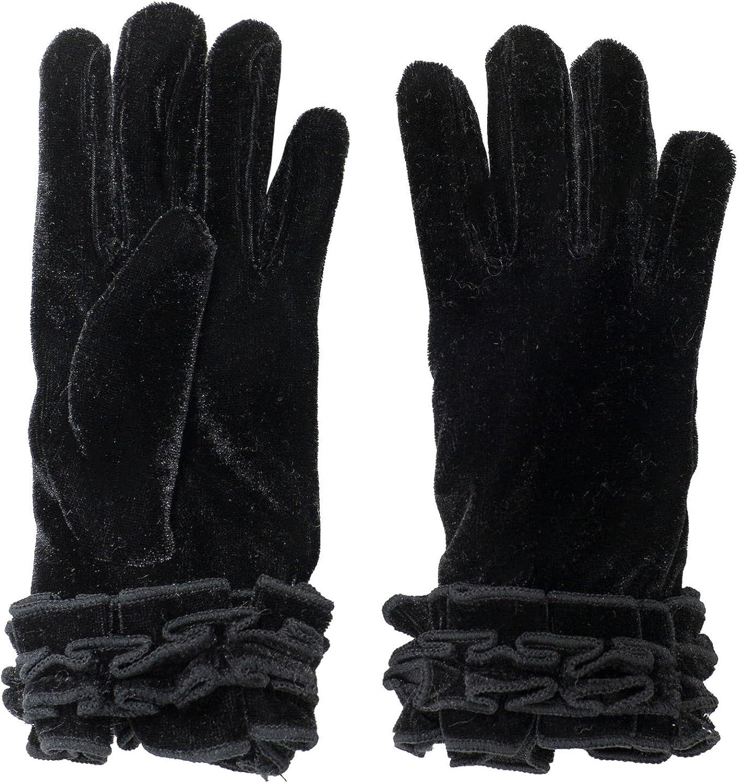 SANREMO Girls Velvet Fleece Lined Thinsulate Warm Winter Gloves Black