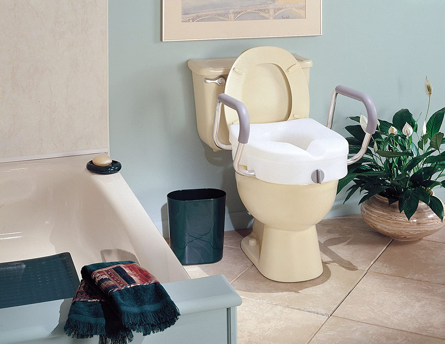 Amazon.com: Carex E-Z Lock Raised Toilet Seat with Armrests, Adds ...