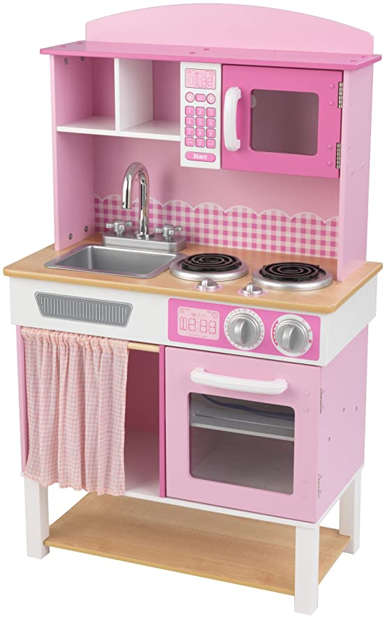 Amazon.com: KidKraft Home Cookin' Pink Wooden Kitchen Play Set ...