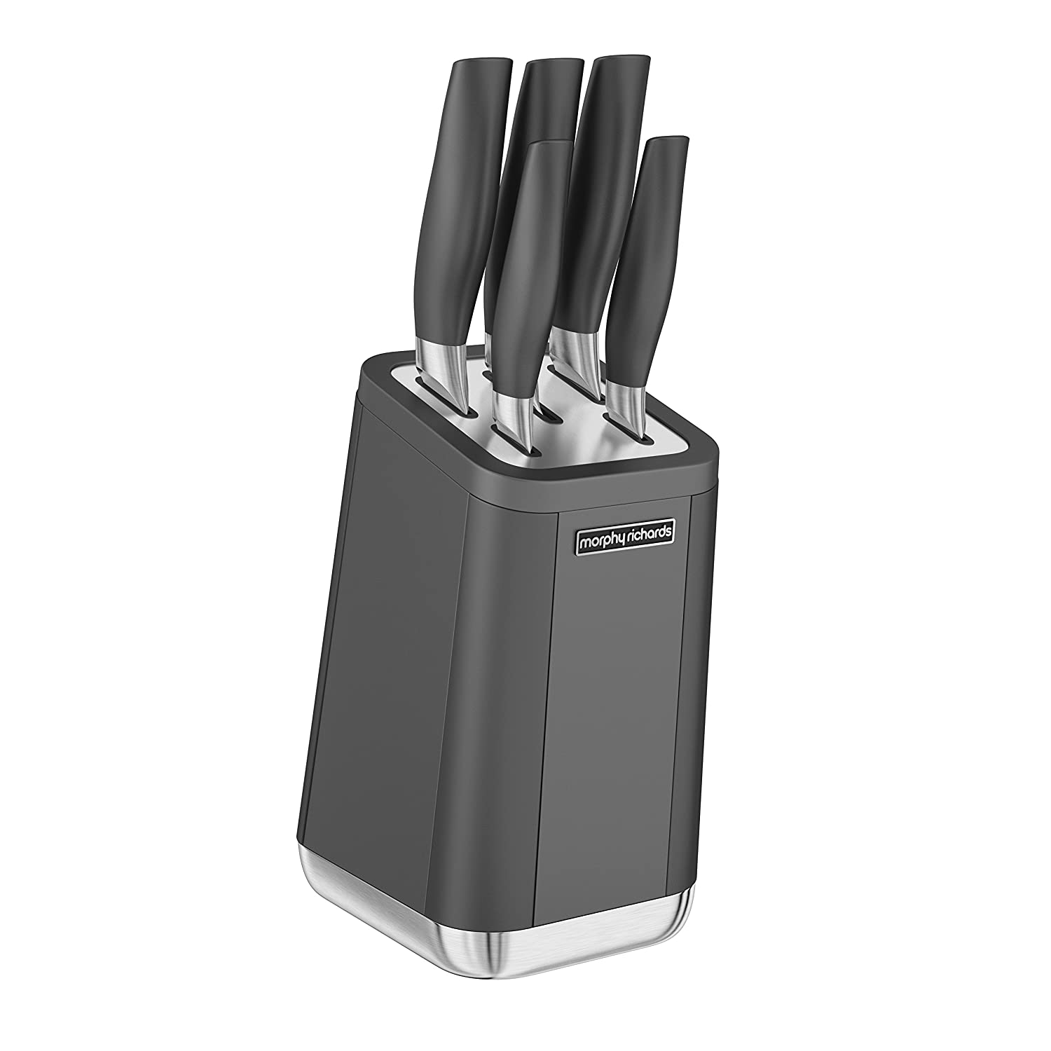 Morphy Richards 972202 Aspect Stone Coated Stainless Steel 5 Piece Knife Set with Block, Black RKW