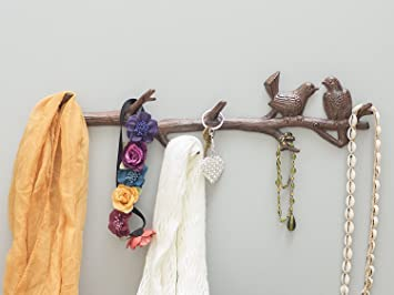 Amazon.com: Cast Iron Birds On Branch Hanger With 6 Hooks ...