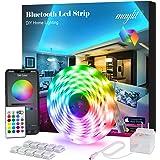 Led Strip Lights, 16.4ft Bluetooth APP Controller RGB LED Light Strip, 5050 LEDs Music Sync Color Changing LED Strip Lights Kit with Remote and 12V Power Supply for Bedroom, Room, Home Decoration