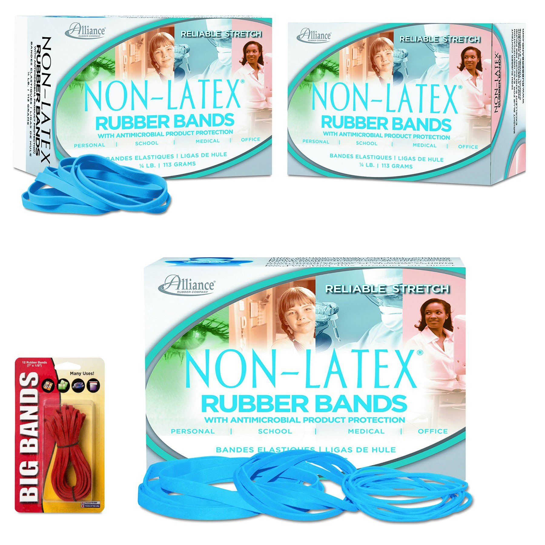 Alliance Rubber 42649#64 Non-Latex Antimicrobial Rubber Bands, 1/4 lb Box Contains Approx. 285 Bands (3 1/2'' x 1/4'', Cyan Blue) Bundle with 12 Big Rubber Bands