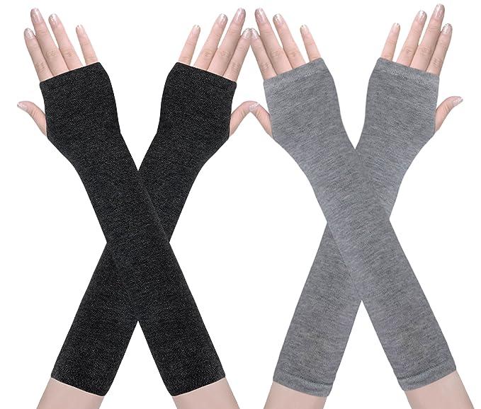 Amandir 2 Pairs Womens Fingerless Gloves, Long Arm Warmer Gloves at ...