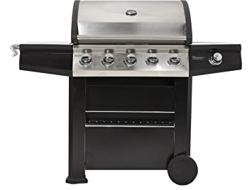 Barbacoa de gas Maxxus® BBQ Chief 7.0, color negro, 5 quemadores de acero