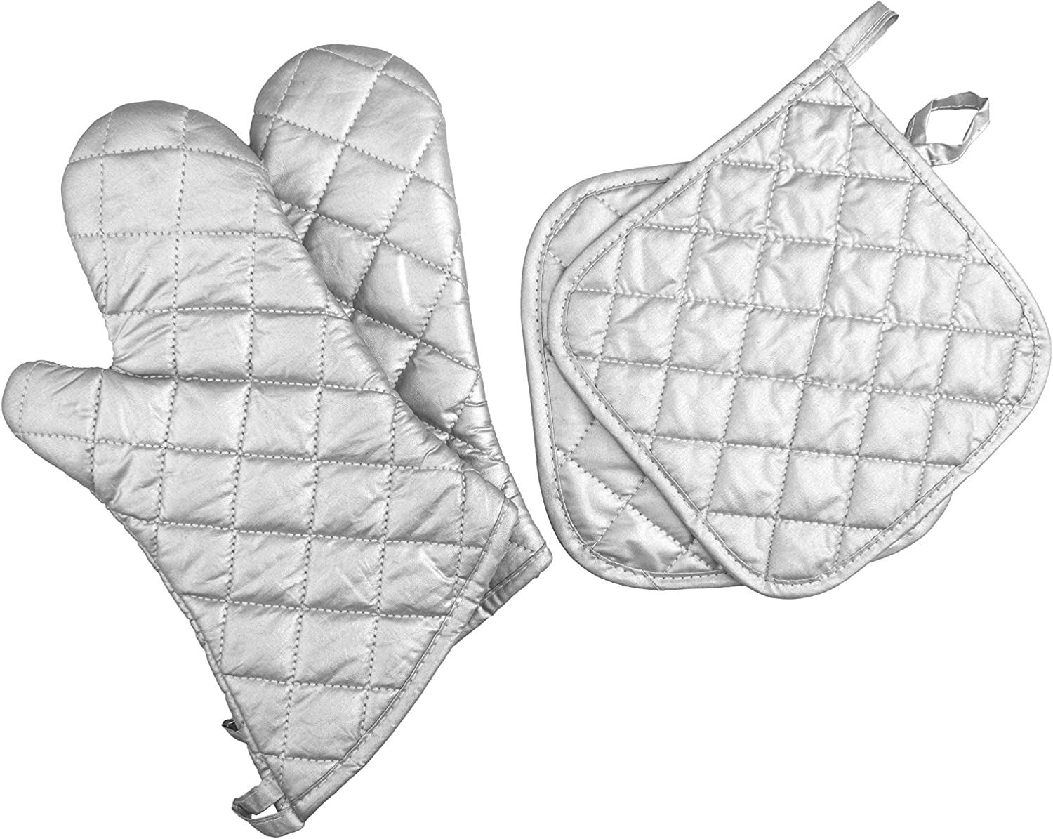 ARCLIBER Oven Mitts and Potholders,Quilted Cotton Lining 15 Inch Oven Gloves,Heat Resistant for Kitchen Cooking,Grilling,Backing,Set of 4,Silver