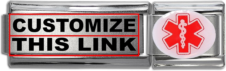 Dolceoro Customized Medical Alert Links Stainless Steel Italian Modular Charm Link Style