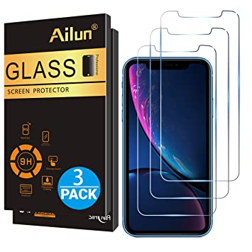 buy online 043f0 48193 Ailun Glass Screen Protector for iPhone XR 6.1 Inch 2018 Release 3 Pack  Tempered Glass Screen Protector Compatible Apple iPhone XR 6.1 Inch Display  ...