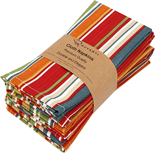 "Amazon.com: Ruvanti Kitchen Cloth Napkins 6 Pack(100% Cotton 20""X20"") Dinner Napkins,Soft&Comfortable Cotton Napkins.Red & Green Multi Color Linen Napkins for Family Dinners,Weddings,Cocktail Parties & Home Use.: Home & Kitchen"