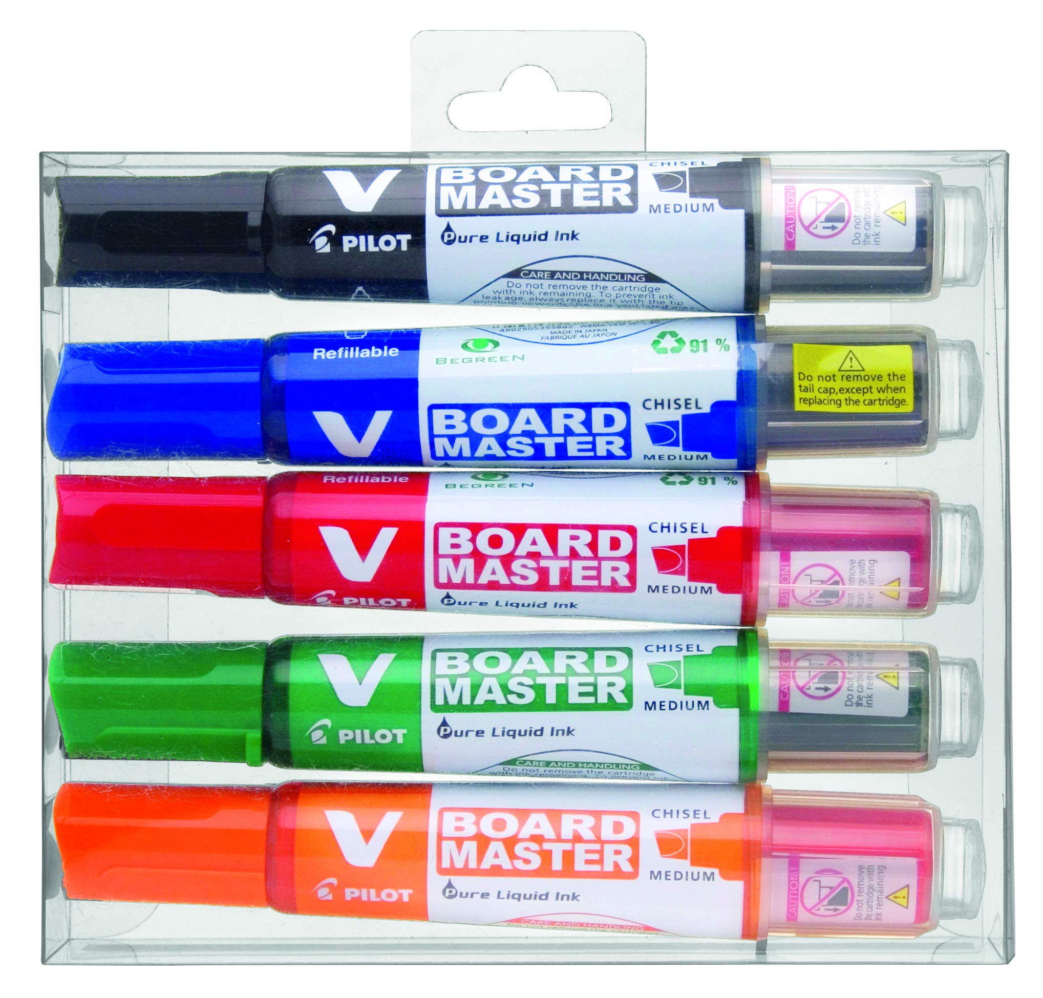 Pilot Begreen Recycled V Board Master Whiteboard Marker Chisel 2.2-5.2 mm Tip - Black/Red/Blue/Green/Orange, Wallet of 5
