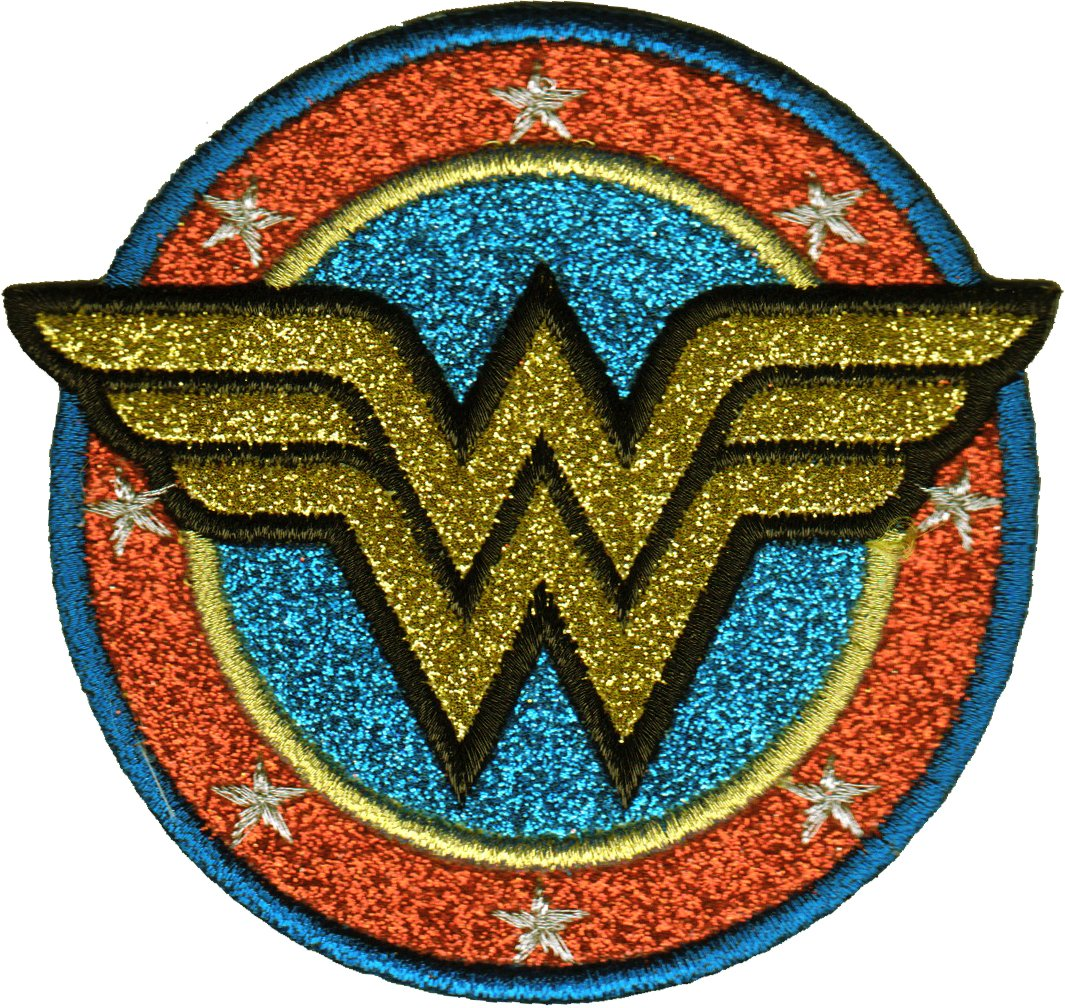 GOLD GLITTER WONDER WOMAN LOGO BRAND NEW EMBROIDERED PATCH 0177