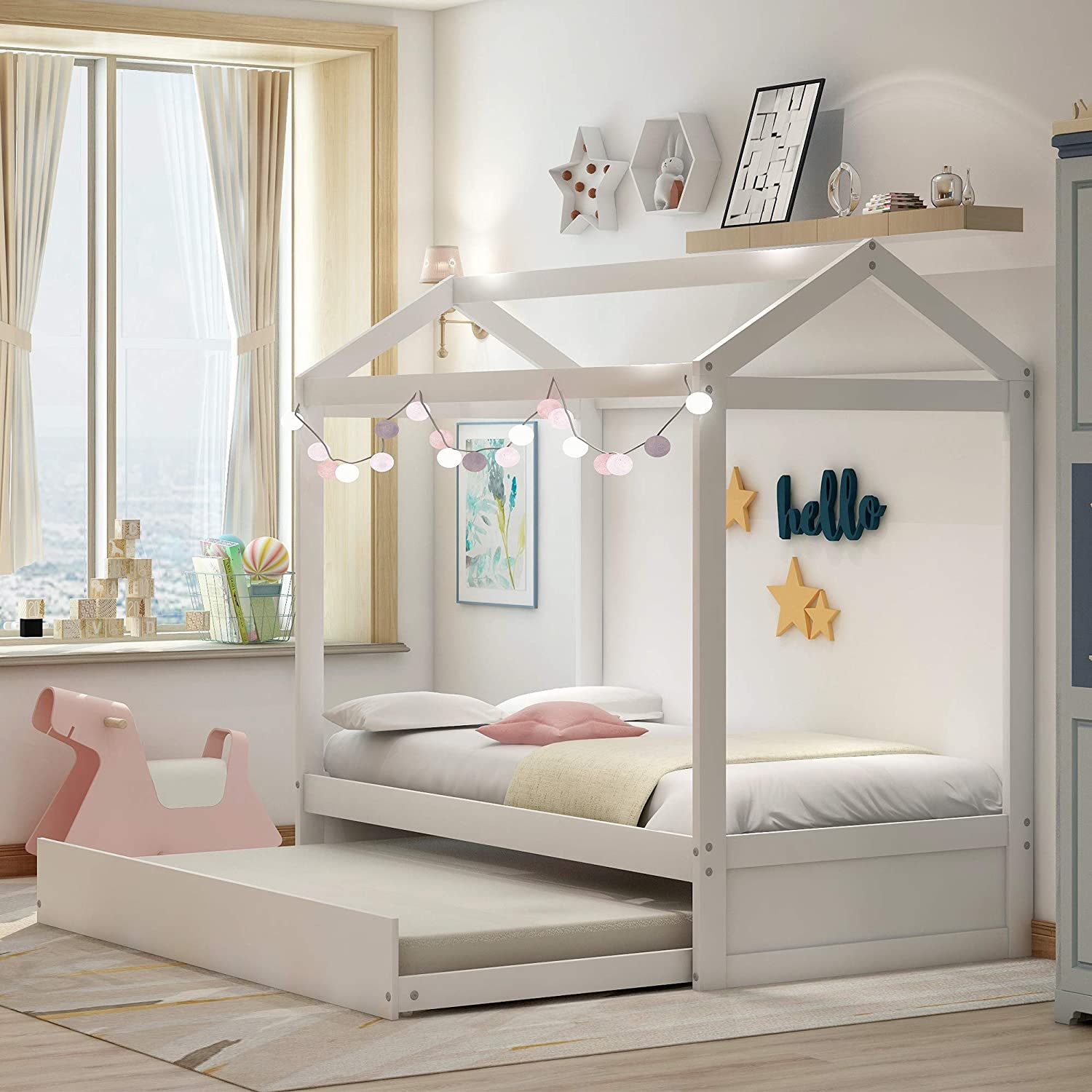 Floor Bed, Daybed for Kids with Trundle Bed, House Shape Wooden Bed Frame with Roof, Bedroom Furniture, Can be Decorated, Tent, White/Twin