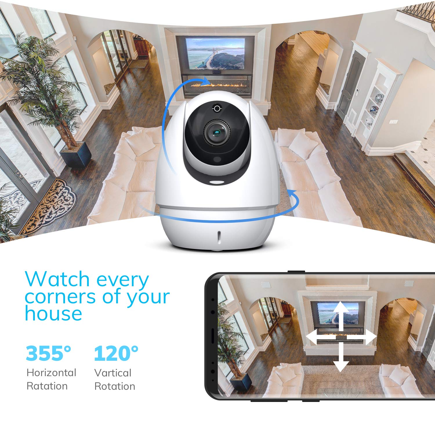 Android//iOS Home Security 1080P Camera Wonbo Wireless Surveillance Pet Baby Dog Monitor IP Camera with 2.4G WiFi Two-Way Audio IR Night Vision