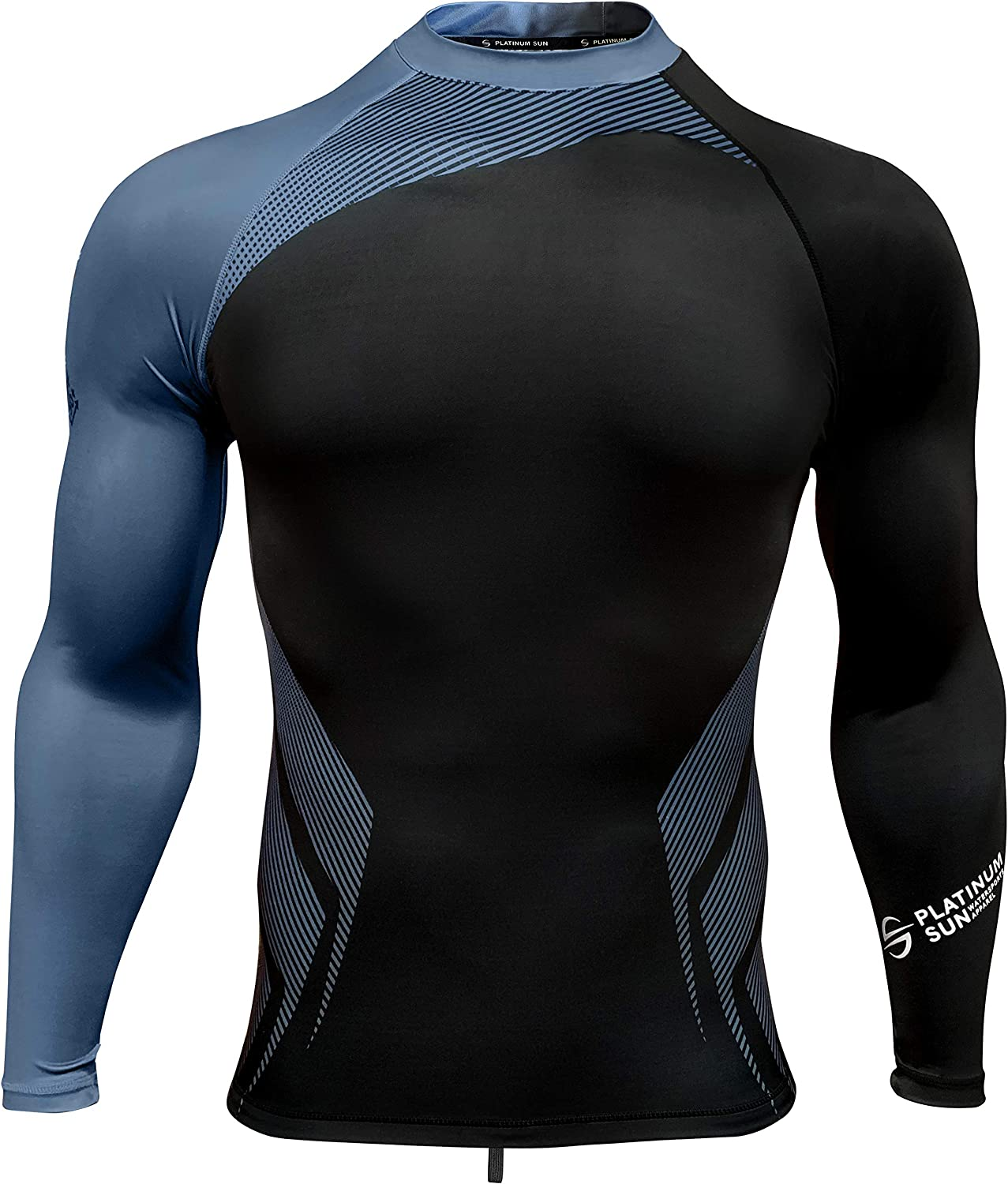 Mens Rash Guard Long Sleeve Surf Shirt Swimsuit - Quick Dry Sun Protection Clothing UPF 50+