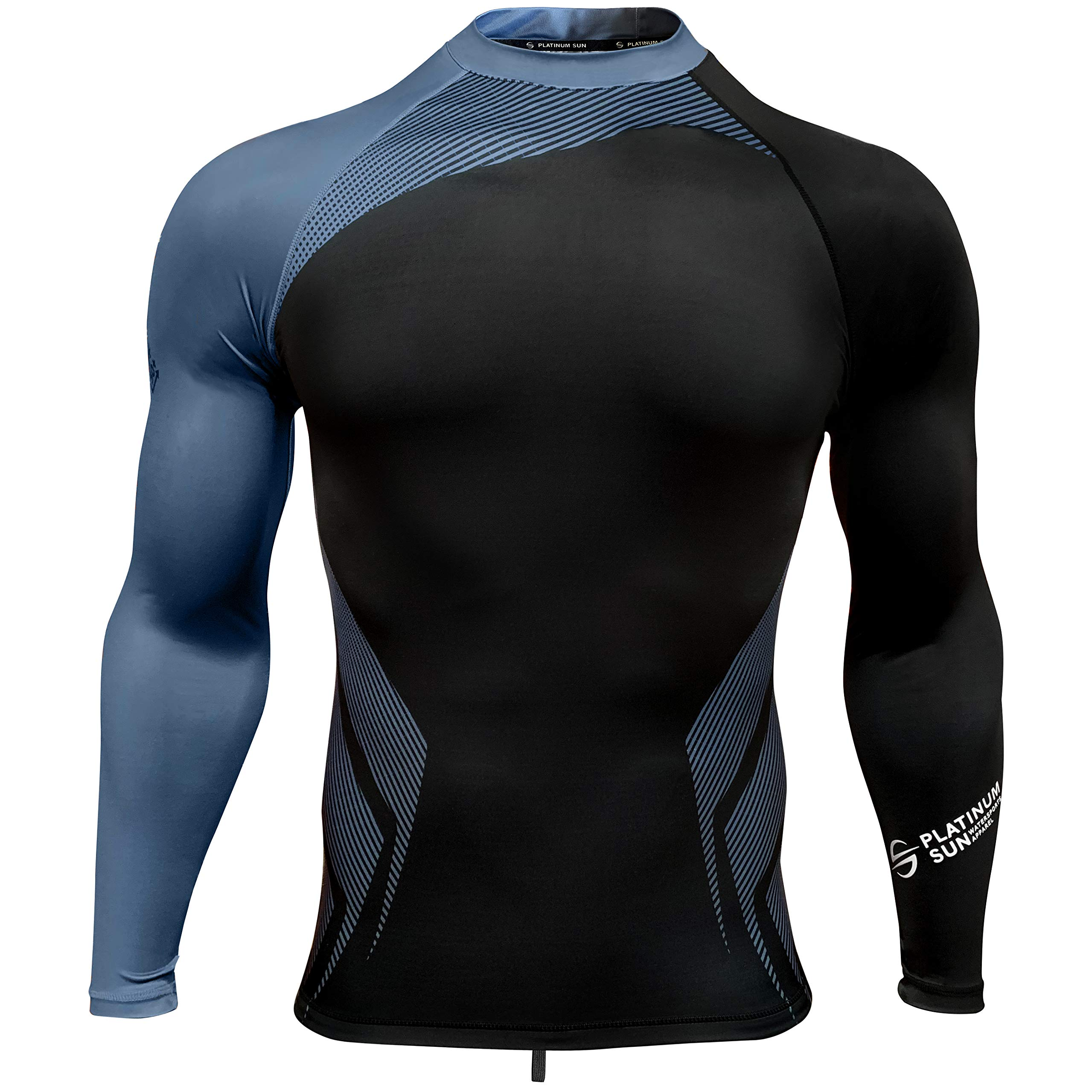 Mens Rash Guard Long Sleeve Surf Shirt Swimsuit - Quick Dry Sun Protection Clothing UPF 50+ (Cobalt, XL) by Platinum Sun