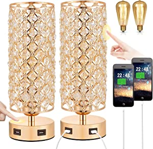 Touch Control USB Crystal Table Lamp Sets, Dimmable Nightstand Lamp with Dual USB Charging Ports, 3-Way USB Gold Lamp, Bedside Desk Light for Bedroom Living Room Home Office(Bulb Included&Set of 2)