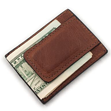 2c29fe83fa669 Image Unavailable. Image not available for. Color  Brown Genuine Cowhide Leather  Magnetic Money Clip 3 Card Wallet USA Handmade