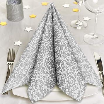 160 weiße Servietten ROYAL-Collection Ornament 40x40 stoffähnlich Hochzeit Taufe